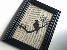 Collage Wall Art, Tree Bird, Framed Book Page Hanging Picture