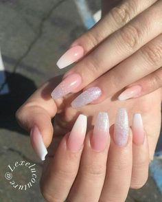 French Fade With Nude And White Ombre Acrylic Nails Coffin Nails French Ombre Nails with Gold Glitter; Best Acrylic Nails, Cute Acrylic Nails, Acrylic Nail Designs, Cute Nails, Pretty Nails, Coffin Nails Ombre, White Acrylic Nails With Glitter, Glitter Fade Nails, White Gel Nails