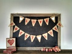 Love Sweet Love Burlap Triangle Banner Rustic Country Wedding Sign by SweetThymes, $34.00