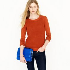 j crew Cotton waffle pullover 70346 $79.50 A giant waffle stitch gives the body of this baseball tee-style pullover textural interest while jersey sleeves keep the fit lean and flattering. Our designers call the technique texture blocking—we just call it genius. Cotton. Crewneck. Long sleeves. Hits at hip. Import. Machine wash.