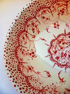 Red and White and Lovely All Over Vintage Style Bowl, via Etsy.