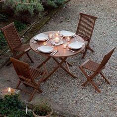 Salon de jardin 4 places en teck par GreenPath Chez Delamaison