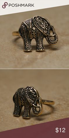 Gorgeous Gold Elephant Statement Ring Vintage look elephant gold ring. Awesome detailing! Great for that bohemian boho hippy chic look.  Brand new.  Sizes 8 9 available.    Tags minimalist bar pave cross simple twist ring arrow simple girly cuff wide thick ring stone gem jewel white opal look brass look intricate stacking multiple midi knuckle Jewelry Rings