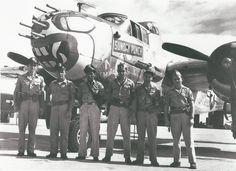 "B25 Mitchell Bomber ""Sunday Punch"" and crew, 1945."