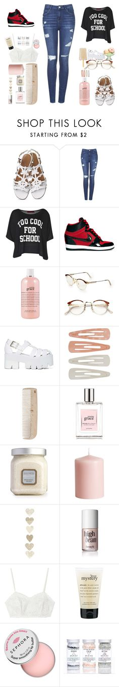 """""""Too Cool For School"""" by karendobbins on Polyvore featuring Topshop, Boohoo, NIKE, philosophy, RetroSuperFuture, Jeffrey Campbell, Forever 21, HAY, Laura Mercier and H&M"""