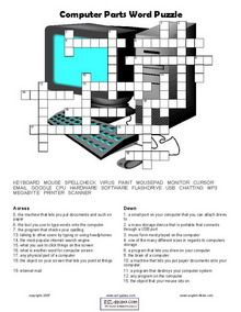 Computer Activity Worksheets | Computer vocabulary crossword exercise.Read the clues and guess the ...