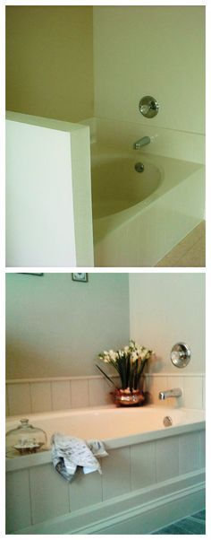 This is a builder grade garden tub which the homeowner spruced up ...