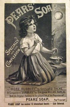 1888 Pears Soap Ad ~ Edouard Frere ~ Girl with Bubbles