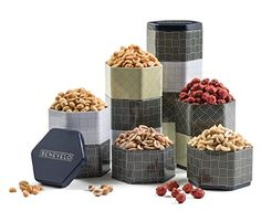 Benevelo Gifts Gourmet Peanut Assortment in 5Tier Tin Tower incl PBJ Black Pepper Sugar Roasted Sriracha  Salted Flavors  Nutritious  Delicious Gift Idea  In Gorgeous Reusable Tin *** You can find out more details at the link of the image-affiliate link. #GourmetSnacks