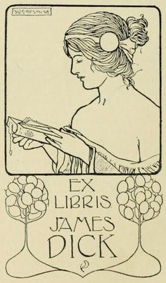 Bookplate for James Dick by J. W. Simpson, 1898 (published 1902 in 'Book-Plates of Today', edited by Wilbur Macey Stone)