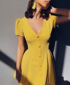 Solid color V-neck short-sleeve single-row button high-waist dress - Cute Outfits Casual Dresses, Short Sleeve Dresses, Summer Dresses, Dresses Dresses, Yellow Dress Outfits, Winter Dresses, A Line Dresses, Dresses For Women, Yellow Dress Casual
