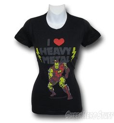 The Iron Man Juniors I Love Heavy Metal T-Shirt is a black, juniors-cut, woman's t-shirt featuring a purposely distressed image of Iron Man and his musical preference, or a slight case of na Iron Man Party, Metal T Shirts, Tank Top Shirt, Heavy Metal, Geek Stuff, Fancy, T Shirts For Women, Super Heros, My Love