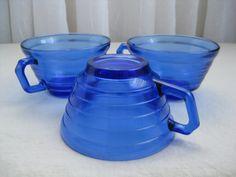 Three Cobalt Blue Moderntone cups by Hazel Atlas