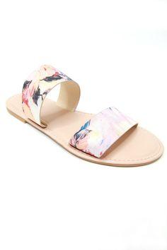 Watercolor Double Band Slide Sandals