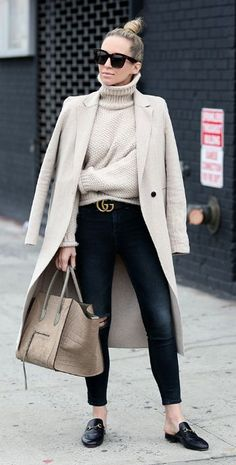 Helena Glazer + utterly elegant + beige-heavy style + turtleneck sweater + gorgeous maxi coat + pair of distressed black jeans + loafers + simplicity of this colour scheme + striking overall style! Coat: Zara, Sweater: Moon River, Denim: Rag & Bone, Loafer Slides: Gucci.