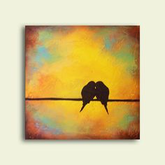 love birds silhouette  perfect wedding gift or for couples
