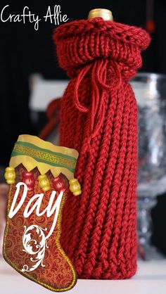 Crafty Allie: 12 Days of Christmas, Day 9: Knitted Wine Bottle Cover