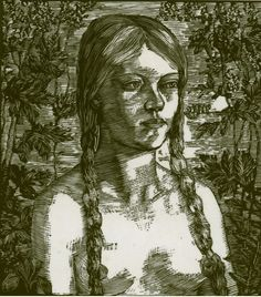 Modern British Art Works by Geoffrey Hamilton Rhoades: "Portrait of a young girl, circa Printmaking, Hamilton, Woodcut Art, Portraits, Art Prints, Masters, Modern, British, Image