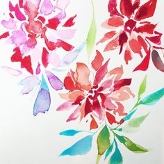 5 minute painting along from last night's #artscope.  It's a wonder how five minutes with the brush can move mountains for the soul. #artforjoysake #watercolor #dahlias