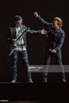 Musicians The Edge (L) and Bono of U2 perform on stage on the final night of U2: The Joshua Tree Tour 2017 at SDCCU Stadium on September 22, 2017 in San Diego, California