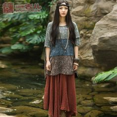 Jiqiuguer Original Brand Ethnic Medium-Long T-shirts Irregular Hem Tops Women Fashion Vintage Tops Summer Wearing