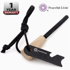 Peaceful Livin' Magnesium Fire Starter with Wood Handle and Steel Striker/Ruler/Bottle Opener - Ferrocerium Ferro Rod Flint Stick Campfire Tool Kit - Outdoor Emergency Survival Camping Set ** This is an Amazon Affiliate link. Read more at the image link.