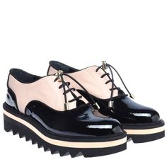 BRogues in black patent leather and powder pink nappa-D8I600P10VENA0077-2
