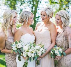 Sisters really do make the best friends and best bridesmaids! (Photographer: @dalyproof | Brides Dress: @kennedyblueofficial | Bridesmaid Dresses: @adriannapapell @donnamorgan_nyc | Veil: @saragabrielveils | Beauty: @beauty_n_chaos | #reidloveskara )