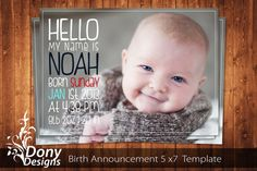 BUY 1 GET 1 FREE Birth Announcement - Neutral Baby Announcement Card - Photoshop Template Instant Download: cardcode-128 on Etsy, $5.00