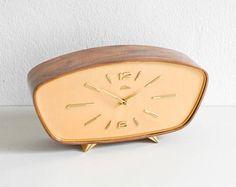 Teak mantel clock, GDR Lauffer 60s desk clock, GDR teak clock, Mid-Century mantel clock Ref: 663