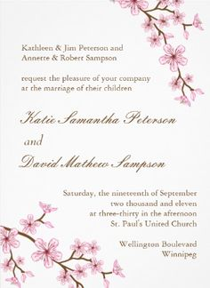 Customizable Cherry Blossom Wedding Invitation. Created by Colourful Designs Inc.