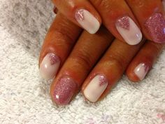 CND Shellac Nail Art - pink glitter chevrons using Romantique and Gosh Rose Quartz nail glitter mixed with Mother of Pearl.