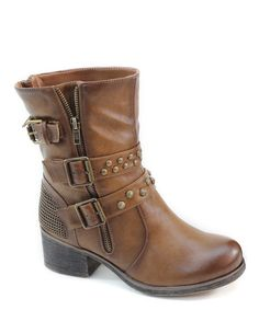 Look at this Summer Rio Brown Buckle & Zipper Boot on #zulily today!