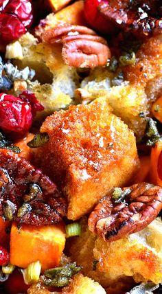 Sweet Potato Cranberry Pecan Stuffing.