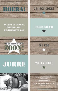 Geboortekaartje Jurre www.hetuilennestje.nl. Uniek, Geboortekaartje, Uitvouwen, Stoer, Steigerhout, Rood, Foto, Stof, Sterren, Blauw/ Groen, Stencil letters.