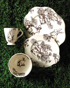 Bunny Toile Dinnerware Chocolate Winsome bunny rabbits are the focus of this ivory and chocolate brown ceramic toile dinnerware. Imported. & 16pc Maxcera BLUE WHITE TOILE Rabbit Bunny Dinnerware Plates Bowls ...