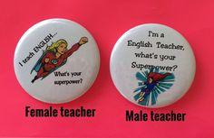 English Teacher 2 1/4 inch pinback buttons by BellyLaughButtons