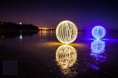 Balls of light #Photographie sur la plage le soir à #Granville #Normandie