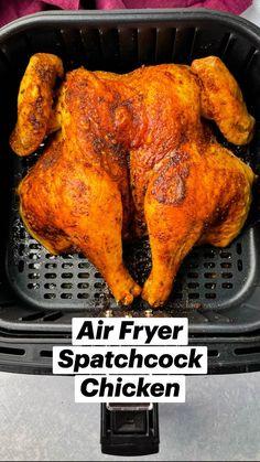 Air Fryer Recipes Keto, Air Frier Recipes, Air Fryer Dinner Recipes, Grilling Recipes, Cooking Recipes, Cooks Air Fryer, Spatchcock Chicken, Air Fried Food, Air Fryer Healthy