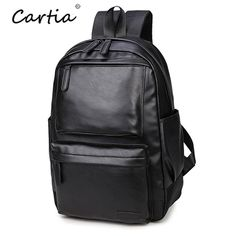New Casual Men Backpack PU Leather Travel Laptop Smart Backpack Small  Bookbag Schoolbags Bagpack Black Backpack 2d3df4ceb25ca
