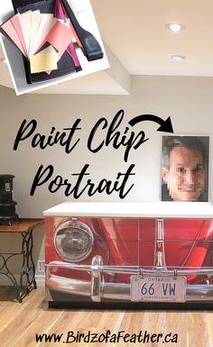 Paint Chip Art - DIY Paint Chip Portrait | Birdz of a Feather Paint Swatch Art, Paint Chip Art, Paint Swatches, Paint Chips, Mosaic Wall Art, Diy Wall Art, Diy Wall Decor, Diy Art, Diy Home Decor