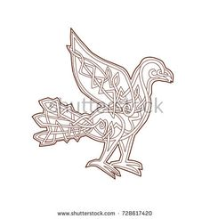 Celtic Knotwork or pseudo-Celtic linear knot style illustration of a Dove, pigeon bird viewed from side on isolated background.  #dove #icovellavna #illustration