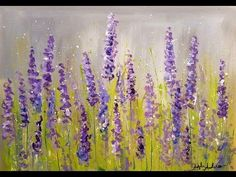 Easy Lavender Impressionist Acrylic Tutorial LIVE Free Step by Step Beginner Painting - YouTube