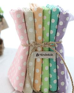 Polka Dots on lovely colours Linen set of 6, each a half yard, U2680