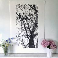 "Birds in tree linocut art print -  ""The Old Apple Tree"" -black & white"