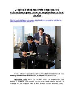 Crece la confianza entre empresarios colombianos para generar empleo hasta final de año