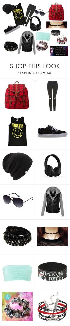 """Nirvana school outfit"" by books-obsessed ❤ liked on Polyvore featuring Charlotte Russe, Topshop, Vans, Coal, Beats by Dr. Dre, Kenneth Cole Reaction, women's clothing, women, female and woman"