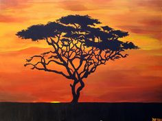 Acacia Tree Silhouette - African Sunset Landscape Painting - 18 x 24. $85.00…