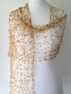 Beige Cobweb Scarf, Gold Cream Taupe Lacey Wrap Shawl, Lace Style, Wedding Stole Wrap