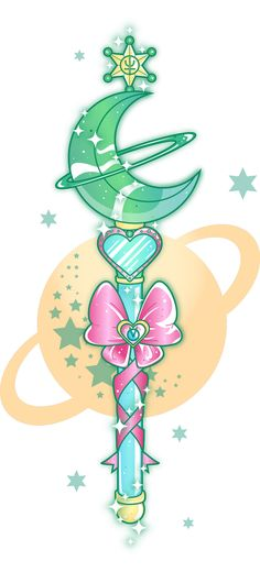 sugarcoatedunicorns:  Sailor Neptune wand (with a little Uranus in the bow's heart). The colours look a little bit too Sailor Jupiter-y but they'll do. :)Background is transparent.Please don't re-post to other websites without asking permission or giving credit.